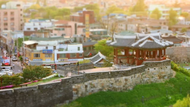 ms t/l shot of suwon hwaseong castles banghwasuryujeong building (unesco heritage) / suwon, gyeonggi-do, south korea - suwon stock videos and b-roll footage