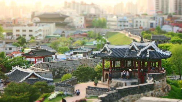 ms t/l shot of suwon hwaseong castles banghwasuryujeong building(unesco heritage) / suwon, gyeonggi-do, south korea - suwon stock videos and b-roll footage