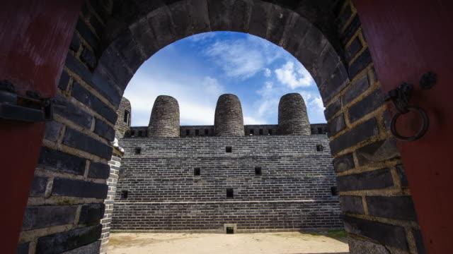 MS T/L POV Shot of Suwon Hwaseong Castles Bongdon (UNESCO Heritage) / Suwon, Kyonggi-Do Province, South Korea