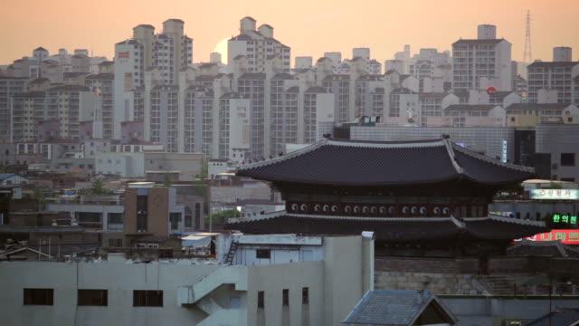 ms shot of suwon hwaseong castles janganmun gate at night (unesco heritage) / suwon, gyeonggi-do, south korea - suwon stock videos and b-roll footage