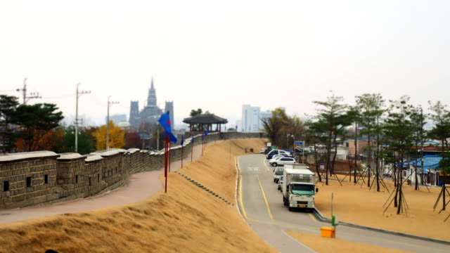 shot of suwon hwaseong fortress - suwon stock videos and b-roll footage