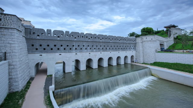 ms t/l shot of suwon namsumun water gate (unesco world heritage site) / suwon, gyeonggi-do, south korea - suwon stock videos and b-roll footage