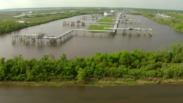 ms aerial shot of swamp with louisiana offshore oil port louisiana