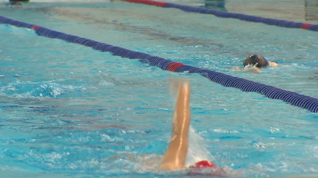 stockvideo's en b-roll-footage met shot of swimmer practicing backstroke in the swimmingpool - badmuts