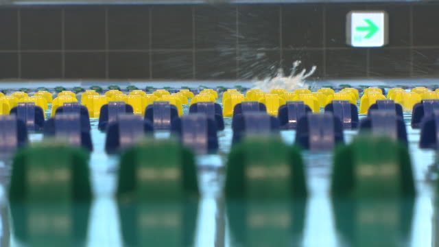 stockvideo's en b-roll-footage met shot of swimmer practicing in the swimmingpool - badmuts