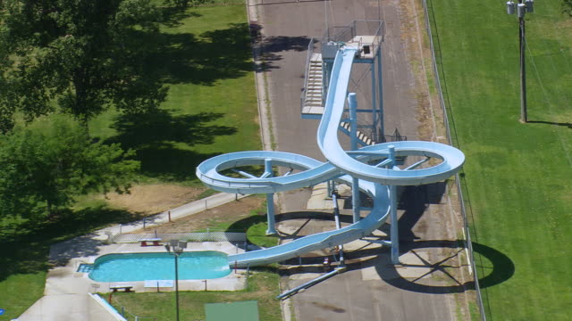 MS AERIAL ZI Shot of swimming pool ride / Wyoming, United States