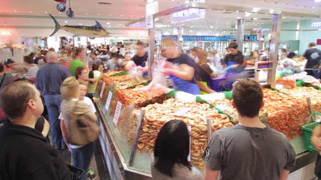 ms t/l tu shot of sydney fishmarkets / sydney, pyrmont new south wales, australia - seafood stock videos & royalty-free footage