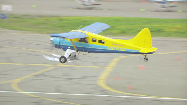 ms aerial ts shot of taking off sheldon air beaver en route to denali in flight over forests / alaska, united states - air to air shot stock videos & royalty-free footage