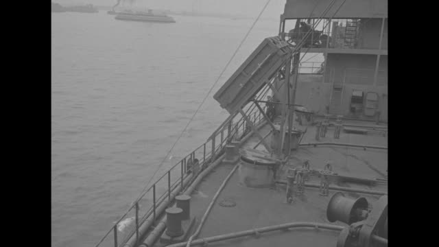 shot of tankers at anchor in new york harbor / shot from deck of tanker moving through water / close view of ship making wake in water / view of deck... - sail stock videos & royalty-free footage
