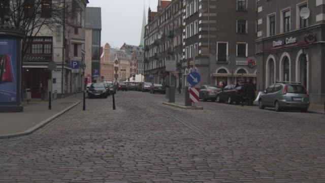 MS TS Shot of Taxi moving on street / Riga, Latvia
