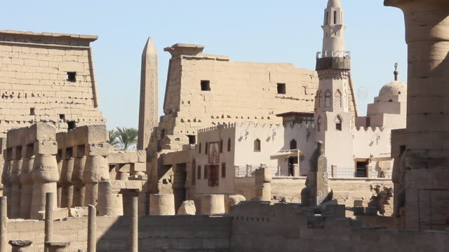 MS Shot of temple in Luxor mosque and Obelisk / Luxor, Egypt