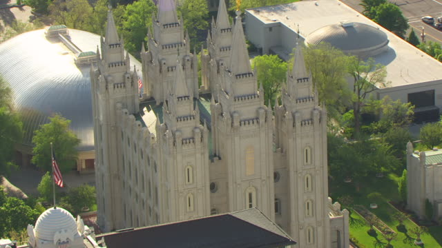 MS AERIAL ZI Shot of Temple Square with salt lake temple / Salt Lake City, Utah, United States