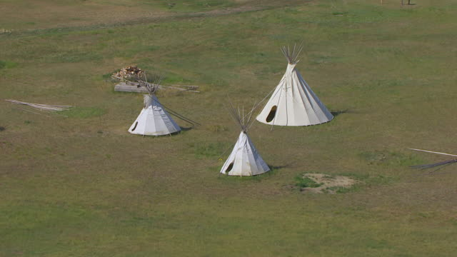 MS AERIAL TS Shot of Tents on grass / North Dakota, United States