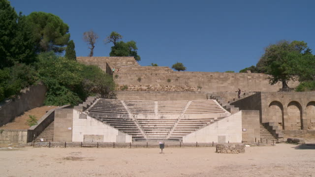 ms shot of the amphitheater at rhodes acropolis / rhodes, dodecanese islands, greece - rhodes dodecanese islands stock videos & royalty-free footage