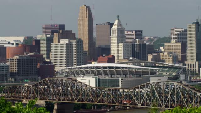 Shot of the Brent Spence bridge into Cincinnati with Paul Brow Stadium in the background