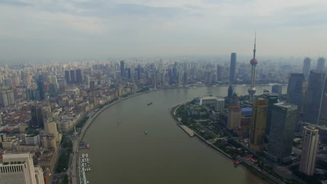 t/l aerial shot of the bund of huangpo river and cityscape/shanghai,china - conceptual symbol stock videos and b-roll footage