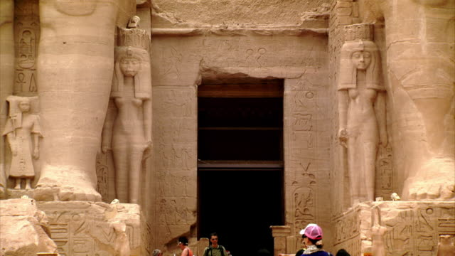 Shot of the entrance to the Great Temple of Ramesses II at Abu Simbel, Southern Egypt.
