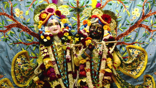 ms shot of the idols of lord krishna and radha in iskcon temple at vrindavan / mathura, uttar pradesh, india - god stock videos & royalty-free footage