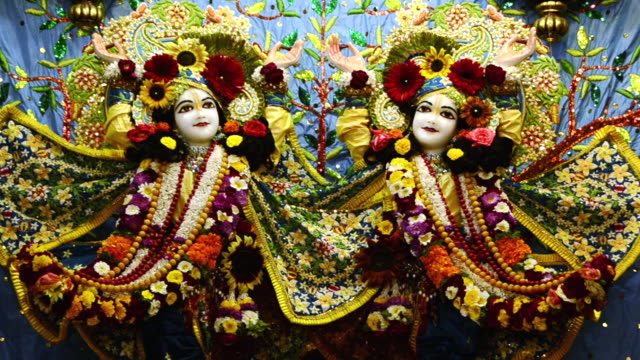 ms td shot of the idols of lord krishna and radha in iskcon temple at vrindavan / mathura, uttar pradesh, india - female likeness stock videos & royalty-free footage