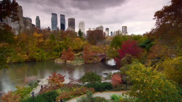 Shot of The Lake in Central Park, New York City. The trees are in full fall colors and the buildings around Central Park can be seen over the trees.  Tourists walk along the paths and the water reflects back the colors of the leaves