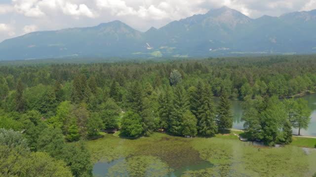空から見た風景、広々とした公園の湖