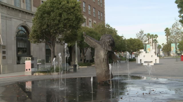 ms shot of the lion's fountain in culver city / los angeles, california, united states - culver city stock videos & royalty-free footage