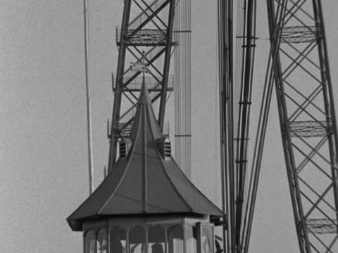 shot of the monmouth transporter bridge in operation - wales stock videos & royalty-free footage
