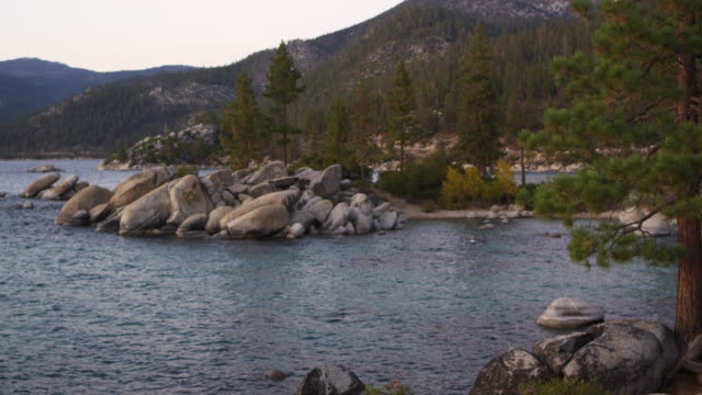 Shot of the rocky outcropping at Sand Harbor State Park of Lake Tahoe.