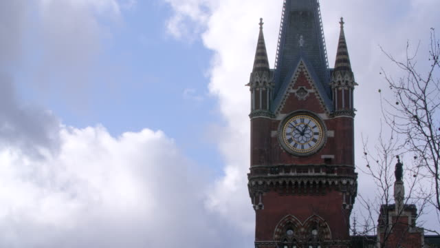 Shot of the St Pancras Hotel's clock tower.