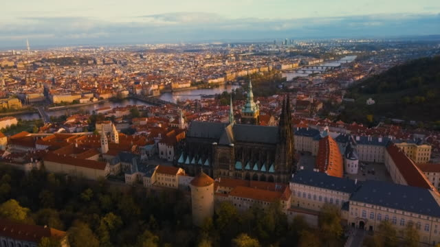 ws aerial shot of the st. vitus cathedral / prague, czech republic - hradcany castle stock videos & royalty-free footage