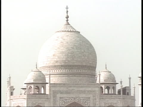 shot of the taj mahal mausoleum in india, starting at the base and zoom-in when it reaches the top. tourists walk near the bottom of the building. - music or celebrities or fashion or film industry or film premiere or youth culture or novelty item or vacations stock videos & royalty-free footage