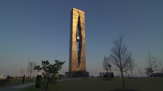 shot of the tear drop memorial in bayonne, new jersey - september 11 2001 attacks stock videos & royalty-free footage