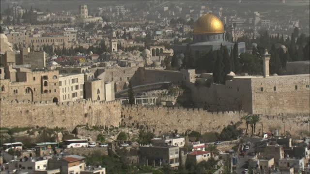 WS POV AERIAL Shot of the temple mount in Jerusalem / Jerusalem, Israel