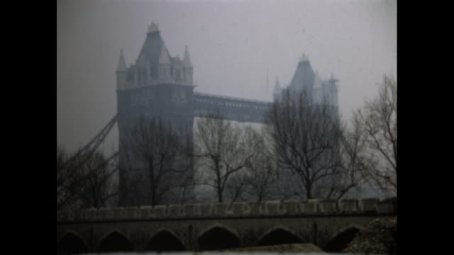 shot of the tower bridge in london on an overcast day - colour image stock videos & royalty-free footage
