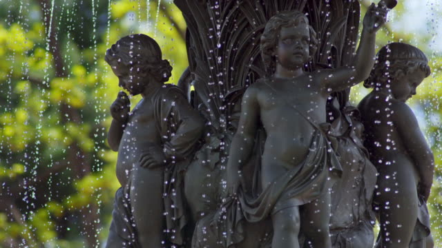 Shot of the young angels on the Bethesda Fountain in Central Park, NYC. Shot at extremely acute shutter angle to separate droplets