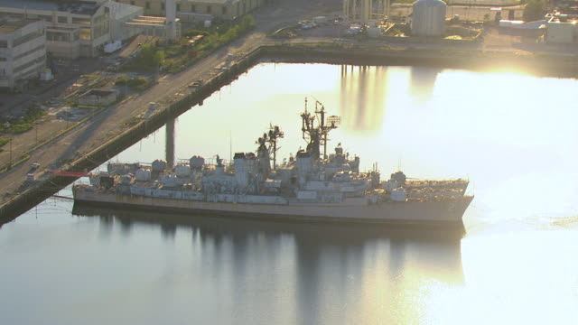 ms aerial shot of three navy destroyer ships docked at shipyard / philadelphia, pennsylvania, united states - shipyard stock videos & royalty-free footage