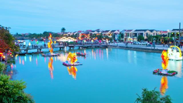 WS T/L Shot of thu bon river moon festival / Hoi An, Quang Nam, Vietnam