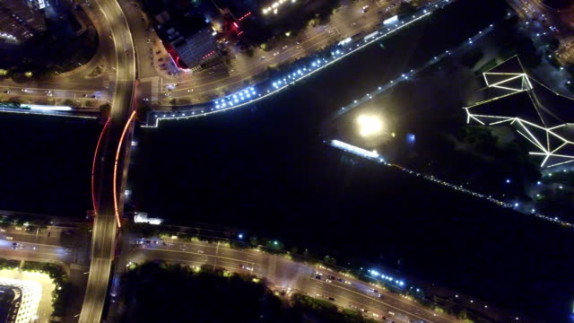 AERIAL shot of Tianjin cityscape at night/Tianjin,China