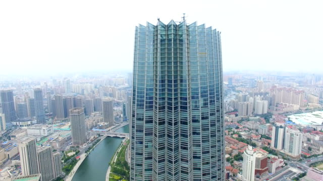 aerial shot of tianjin world financial center and cityscape/tianjin,china - tianjin stock videos & royalty-free footage