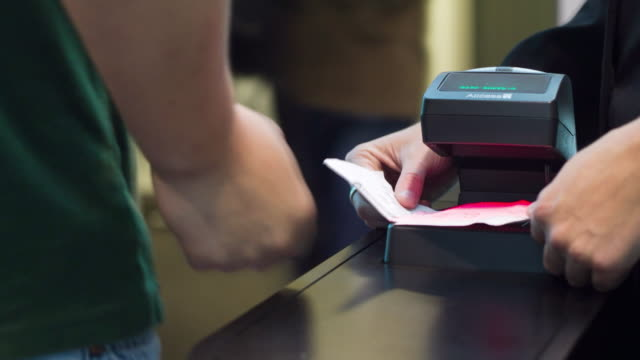 cu pan t/l shot of ticket check machine / sydney, pyrmont new south wales, australia - ticket stock videos and b-roll footage