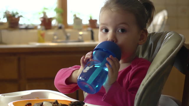 MS Shot of Toddler in high chair drinks from spill-proof cup / Chelsea, Michigan, United States