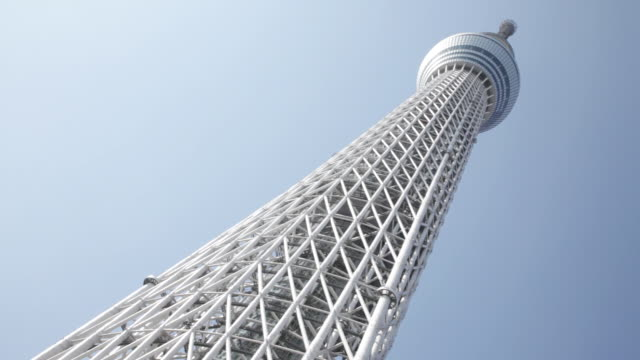 ms shot of tokyo sky tree / tokyo, japan  - low angle view stock-videos und b-roll-filmmaterial