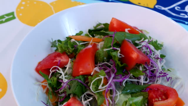 shot of tomato salad - tomato salad stock videos & royalty-free footage