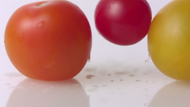 cu slo mo shot of tomatoes fall / toronto, ontario, canada  - three objects stock videos & royalty-free footage