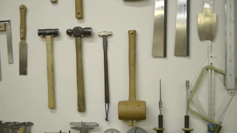 ms pan shot of tool which forms furniture / kyoto, japan - work tool stock videos & royalty-free footage