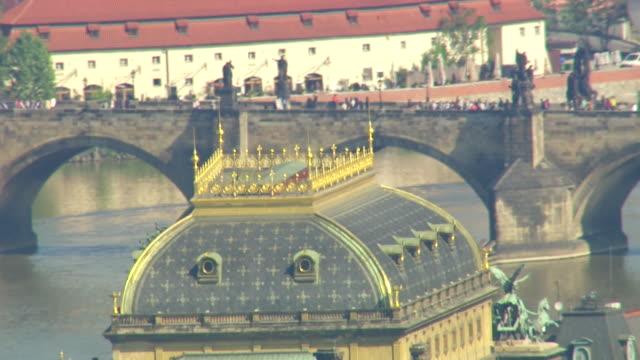 CU AERIAL Shot of top of national theatre / Prague, Czech Republic