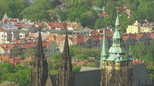 ms aerial shot of top of st. vitus cathedral / prague, czech republic - prague stock videos & royalty-free footage