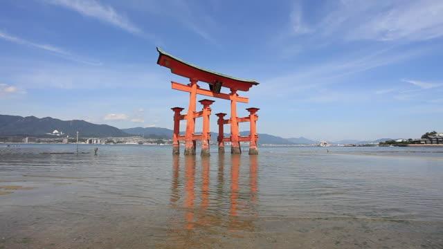 WS Shot of torii gate  / Itsukushima, Hiroshima, Japan