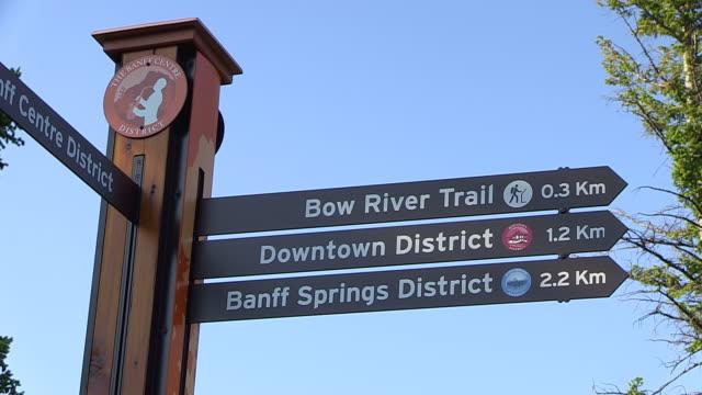 CU Shot of touristic signs / Banff Nationalpark, Alberta, Canada