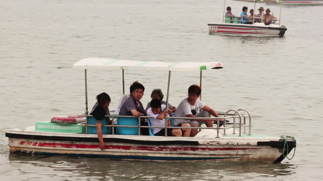 MS TS Shot of tourists on boat on Kunming Lake in Summer Palace / Beijing, China